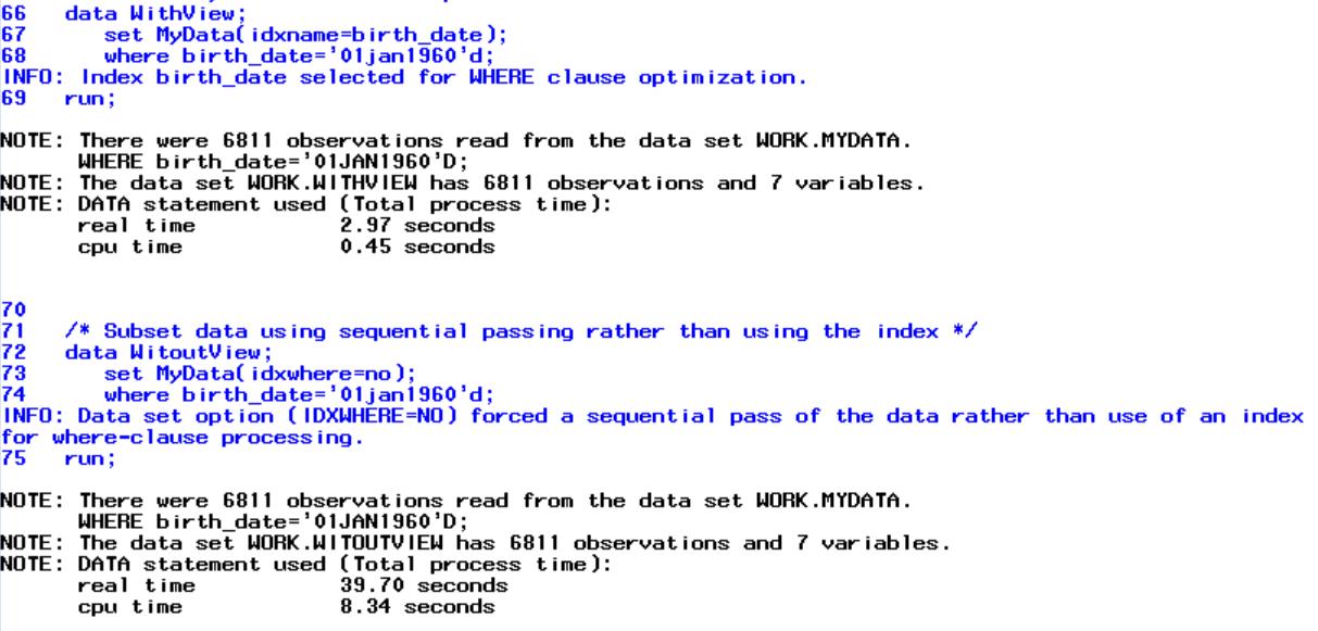SAS Index Performance PROC DATASETS Log Example