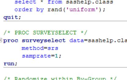 4 Ways to Sort a SAS Data Set in Random Order